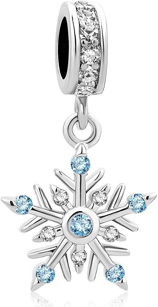 LovelyJewelry Snowflake Dangle Charm Beads for European Bracelets