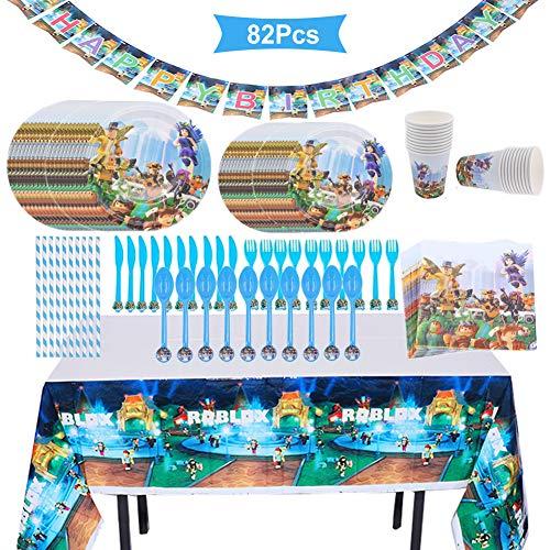 REYOK Partygeschirr Kindergeburtstag Set,82 PCS Partyzubehör Geburtstag Party Set, Kindergeburtstag Deko Kit Becher Tischdeko für Kindergeburtstag Motto-Party Tischdeko Partygeschirr für 10 Personen