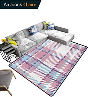 TableCoversHome Checkered Striped Door Mats Outside, Antique Clothing Pattern Design with Retro Display English Culture Fashionable High Class Living Bedroom Rugs, (3'x 8') Lilac Purple Pale Blue