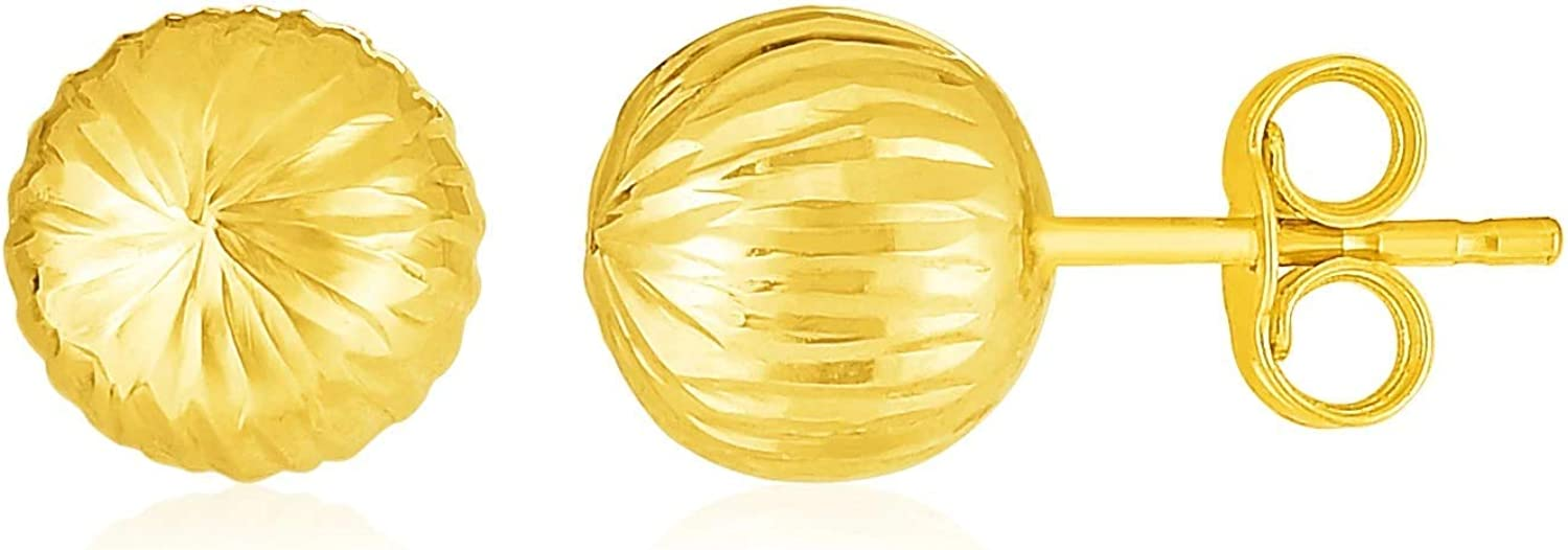 14K Yellow Gold Ball Earrings with Linear Texture