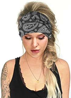 Headbands for women and Girl, Cross Head Turban Knotted Hair Bands, Boho Flower Printing Wide Fashion Headbands
