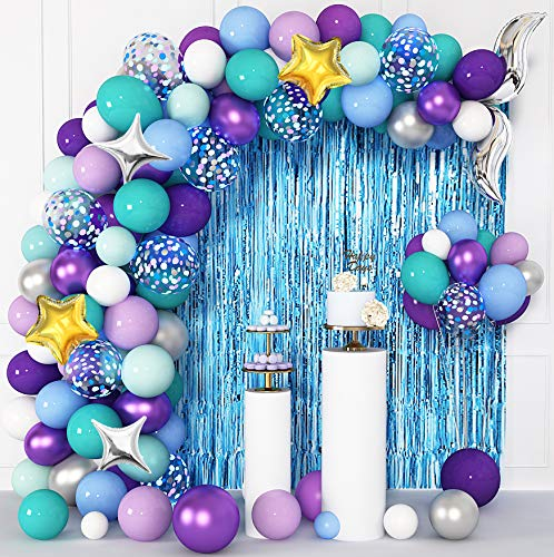 Mermaid Party Decorations Balloons Arch Garland Kit with Foil Fringe Curtain, 12'' 10'' 5'' Tail Confetti Purple Metallic Latex Balloons for Mermaid Birthday Party Supplies Decorations with 4Pcs Tools