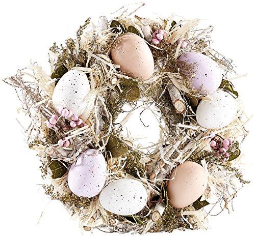 Britesta Ostern-Tischdeko: Osterkranz mit pastellfarbenen Ostereiern, Ø 23 cm (Oster-Türschmuck)