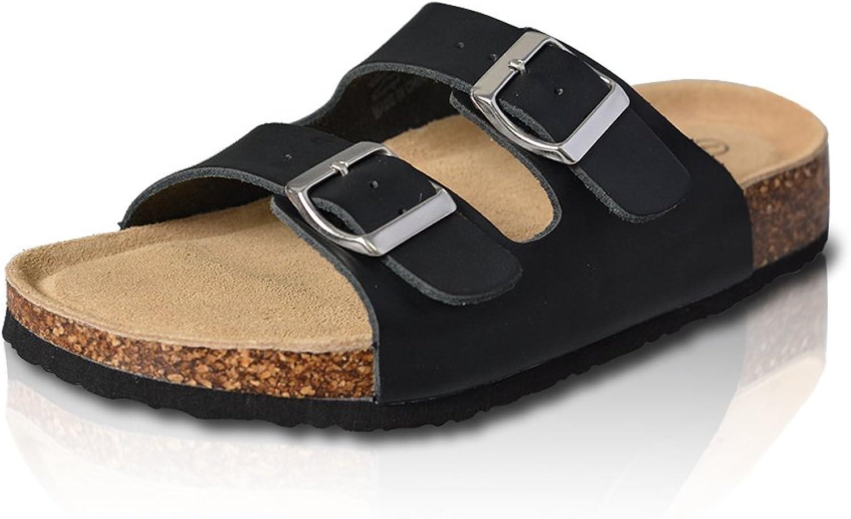 VLLY Women's Leather Ring Open Toe Cork Sandals