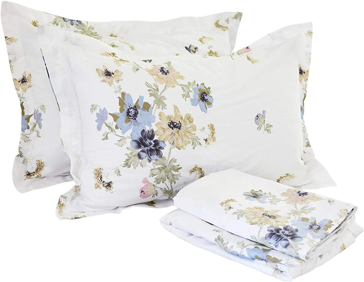 FADFAY Sheet Set Twin XL Farmhouse Bedding Shabby White Floral 100% Cotton Hypoallergenic Dorm Room Bedding Deep Pocket Fitted Sheet 4Pieces Twin Extra Long Size