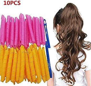 Surfilter 45CM Magic Hair Curlers Spiral Curls Styling Kit, Magic DIY Hair Curler, DIY Curly Styling Belt Tool, 10/20/30 / 40pcs No Heat Hair Curlers y 2 ganchos de peinado (10 piezas)