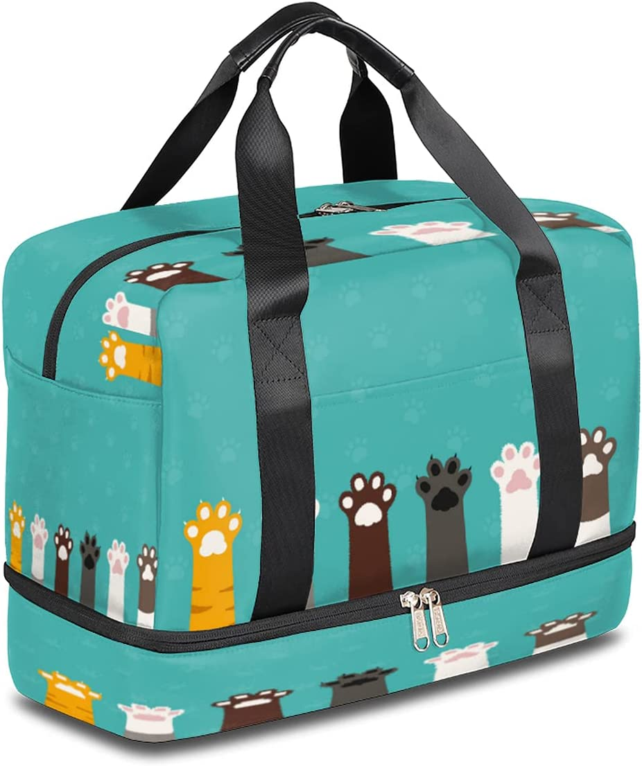 Sports Gym Bag Cute Animal Ranking TOP6 Cat Print National products Travel Duffel Paw Light
