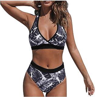 riou Bikini, Bikinis Mujer 2020 Push up Sexy Estampado de Hojas Conjunto de Traje de BañO Estampado Bohemio BañAdores con Relleno Sujetador Tops y Braguitas 2 Piezas Verano riou