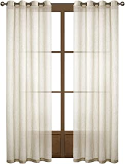 Dreamig Casa Natural Linen Sheer Curtains for Bedroom,Solid Semi Sheer Grommet Top Two Panels for Living Room (2 Panels, 52''W x 96''L)