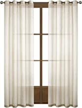 Dreaming Casa Natural Linen Sheer Curtains for Bedroom,Solid Semi Sheer Grommet Top Two Panels for Living Room (2 Panels, 52''W x 108''L)