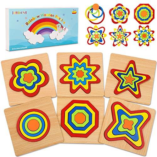 lenbest 6 Pcs Holzpuzzle in Regenbogenform, Bunt Steckpuzzle Holz Montessori Spielzeug, 3D Ungiftig Puzzle Lernspielzeug Weihnachten Geburtstag Geschenk für Baby Kinder