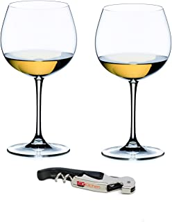 Riedel Vinum XL Crystal Oaked Chardonnay 2 Piece Wine Glass Set with Bonus BigKitchen Waiter's Corkscrew