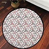 №15886 Round Area Rug Floor Kitchen Carpet, Abstract,Overlapping Round Edged Triangles Pattern Pyramid Contemporary Art Design,Red White Black, for Home Decor
