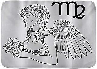 QIUTIANXIU Alfombra De Baño Cocina Mascota Alfombrilla,Zodiac Virgo Astrological Angel llevando un Ramo de Flores de Lirio en un Vestido Griego,De Baño Antideslizante,Microfibra Suave