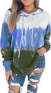 Women Hoodies Tops Tie Dye Printed Long Sleeve Drawstring Pullover Sweatshirts with Pocket(S-XXL)