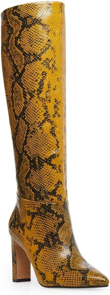 Steve Madden Steven Joanis Yellow Muti Snake Knee High Dress Boots