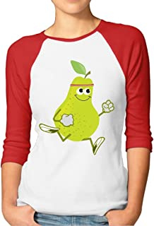 Sakanpo Women's Awesome Running Pear 3/4 Sleeve Baseball Tee Raglan T-Shirts Black