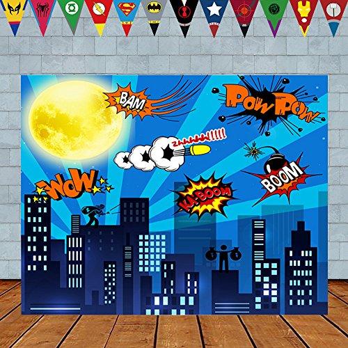 Superheld Geburtstag Foto Hintergrund 7 x 5ft Stadtbild Cartoon Supercity Kulissen Superheld Party Supplies Dekorationen - Superhelden Wanddekorationen für Jungen oder Mädchen