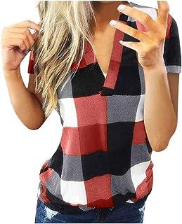 FELZ Primavera Elegantes Camisetas Mujer, Casual Mujer Camisa A Cuadros Manga Corta Camisa Ajustado Chaqueta Camiseta Blus...