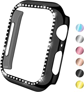 KOLEK Case Compatible with Apple Watch Series 3 2 1 38mm, Durable Crystal Bling Case for iWatch All Versions, Black