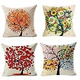 Sixcup  4 Stück Vier Jahreszeiten glückliche Bunte Bäume gedruckt Muster Kissenbezug 45X45cm...