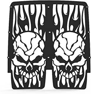 Skull Flame Black Powdercoat Radiator Grill Guard fits: 1987-2012 Yamaha Banshee 350 - Ferreus Industries - GRL-132-01black