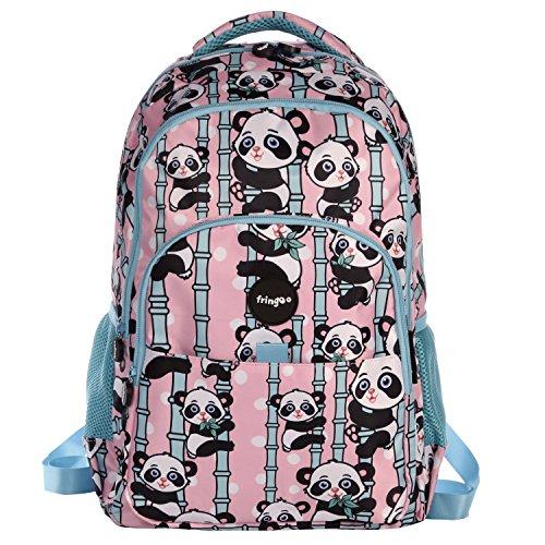 "FRINGOO® Mochila Escolar Multiples Compartimentos para Niñas y Niños - Impermeable para Portátil de 17"" (A:44cm*L:29cm*A:21cm, Pandas)"