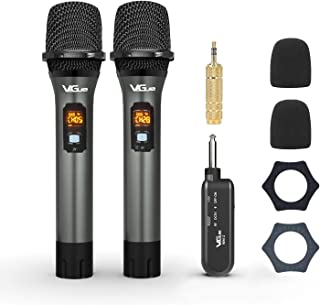 Wireless Microphone, UHF Cordless Mic System with Rechargeable Receiver & 2 Handheld Dynamic Mics, Ideal for for Karaoke, ...