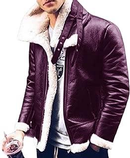 Sodossny-AU Mens Faux Leather Faux Fur Lined Moto Biker Winter Slim Fit Down Coat Jacket Overcoat