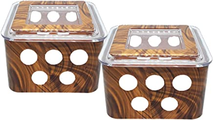 Jay TKP Products Classic Multipurpose Wooden Style Plastic Fusion Container (500 ml; Coffee Brown) -Set of 2