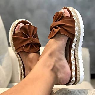 Non-Slip Slippers Thick Flax Bowknot Sandals, Open Toe Women's Casual Sandals for Indoor Outdoor Breathable Shoes,E,38