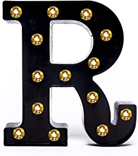 Foaky Black LED Marquee Letter Lights Sign 26 Alphabet Light Up Marquee Letters Sign for Night Light Wedding Birthday Party Battery Powered Christmas Lamp Home Bar Decoration (R)