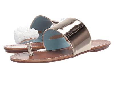 Frances Valentine Clementine Slide Sandal (Gold Specchio/Natural Raffia) Women