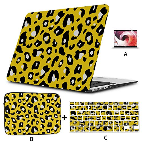 Macbook Pro Screen Protector Colorful Extravagant Seamless Leopard Yellow Case Macbook Air Hard Shell Mac Air 11'/13' Pro 13'/15'/16' With Notebook Sleeve Bag For Macbook 2008-2020 Version