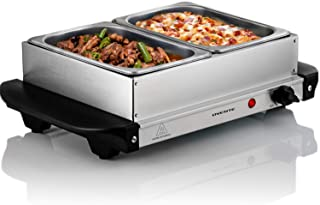 Ovente FW152S Electric Buffet Server Tray, Two Stainless Steel 1L Warming Pan, 150W, Silver ( 16.1 x 10.8 x 5.8 in cooking surface)