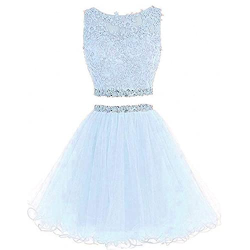 0ab16366650 Dydsz Women s Prom Dress Short Homecoming Party Dresses 2 Piece Beaded  Cocktail Gown D127