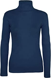 Womens Fancy Stretch Plain Polo Neck Top Ladies Long Sleeve Turtle Neck Party Wear Jumper