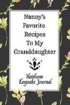 Nanny's Favorite Recipes To My Granddaughter Heirloom Keepsake Journal: Blank Granddaughter Create Your Own Cookbook