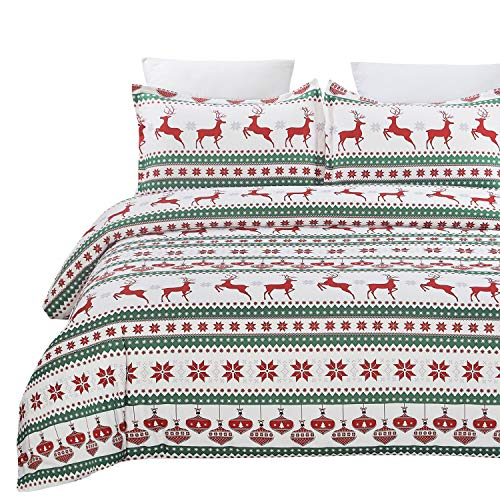 Vaulia Lightweight Microfiber Duvet Cover Set, Printed Reindeer Pattern for Christmas New Year Holidays, Red/Green - King
