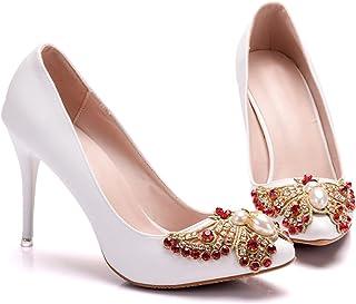 Brautschuhe Damen,Damen Tanzschuhe,Hochzeitsschuhe,9Cm Stiletto Spitze High Heels,Blumen Strass Plus Größe Schuhe,Bankett ...