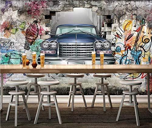Benutzerdefinierte Fototapete Wandbild Oldtimer Handbemalte Graffiti-Wand 3D Stereo Restaurant Bar Hintergrund Wall-300 * 210Cm