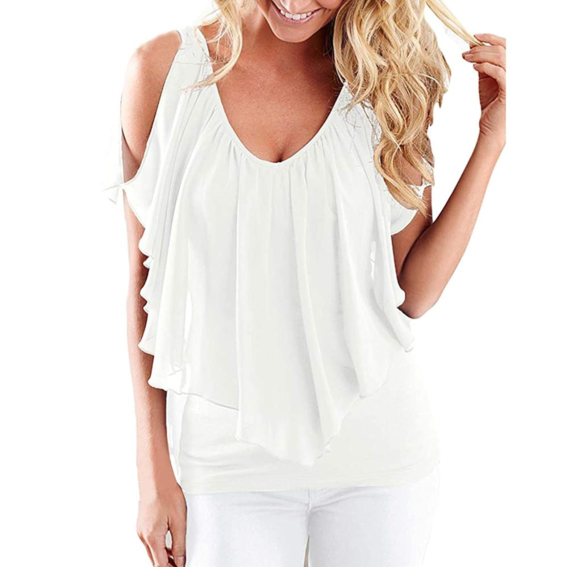 〓COOlCCI〓Women Summer Irregular Chiffon Blouses Off Shoulder Shirts Tops T-Shirts Casual Tees