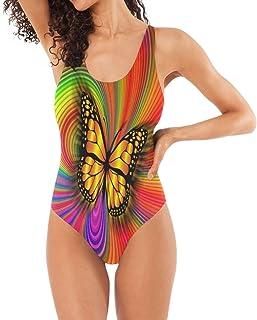 SLHFPX Trajes de baño de una Pieza para Mujer, diseño de Mariposas, Colores del arcoíris