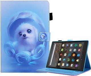 SevenPanda - Funda de piel sintética para Amazon Kindle Fire HD de 8 pulgadas 2020, HD 8 Plus 2020 Perro azul.