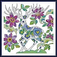 クロスステッチキャンバス初心者刺繍キット鹿40x50cmDIY刺繍を刻印するためのスターターキット大人と子供のための創造的な贈り物11CT