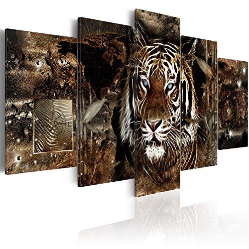 murando Acrylglasbild Abstrakt 200x100 cm 5 Teilig Wandbild auf Acryl Glas Bilder Kunstdruck Moderne Wanddekoration - Tiere Tiger Welltkarte Diamant grau g-C-0027-k-o