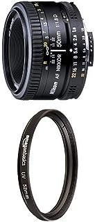 Nikon AF FX NIKKOR 50mm f/1.8D Lens with Auto Focus for Nikon DSLR Cameras with UV Protection Lens Filter - 52 mm