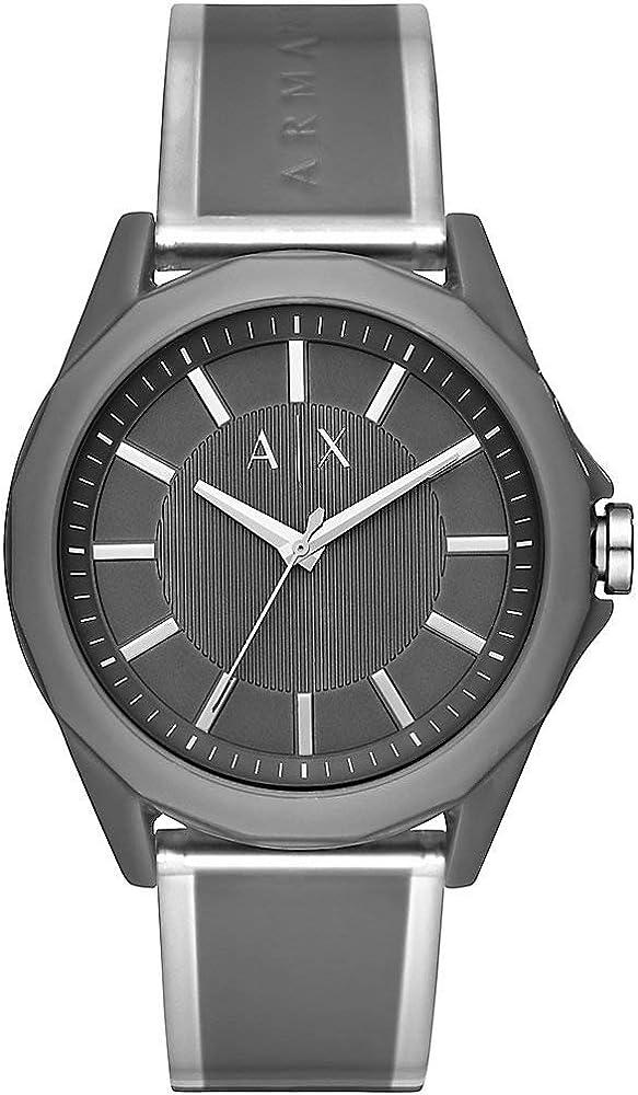 Armani exchange orologio da uomo con cinturino in silicone e  cassa in resina AX2633