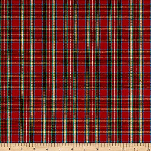 Textile Creations 0565668 Classic Yarn-Dyed Tartan Plaid Royal Red Fabric by the Yard