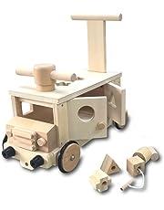 遊び方いろいろ 木製 ぶろっくバス 乗用 玩具 カタカタ 押し車 パズル